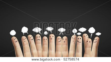 Fingers With Speech Bubbles