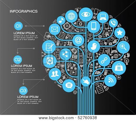 A modern set of infographics and icons Social Media. Icons of network and technology in the form of a tree. Template with text and numbers. Background to the concept of adverse communication.