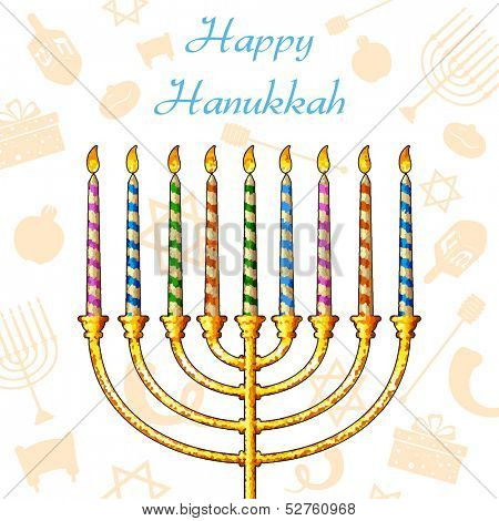 illustration of Hanukkah candle on festive pattern background