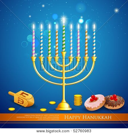 illustration of burning candle in Hanukkah Menorah with dreidel