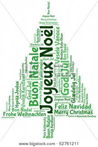 Joyeux noel and merry christmas 2014 tree word tag cloud