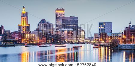 Providence, Rhode Island downtown cityscape viewed from above the Providence River.