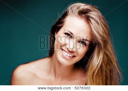 Pretty Natural Smiling Blond Woman