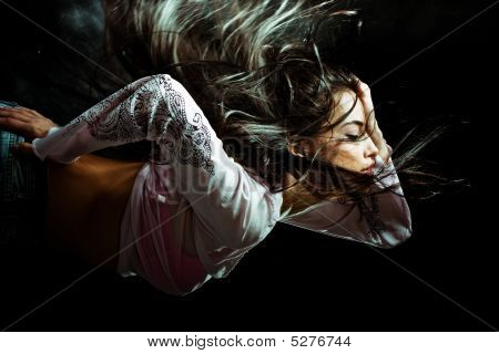 Long Hair Woman Flying Through The Night