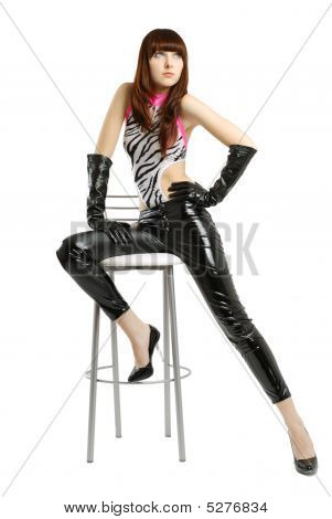 Girl With Very Long Legs In Leather Pants