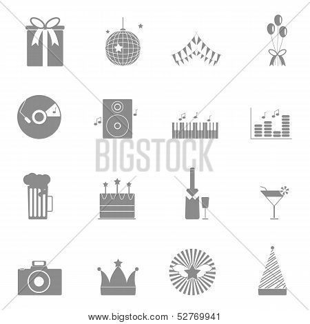 Party And Celebration Icons Set On White Background