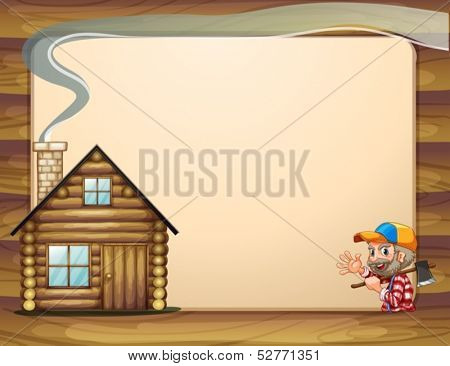 Illustration of an empty template with a house and a woodman carrying an axe