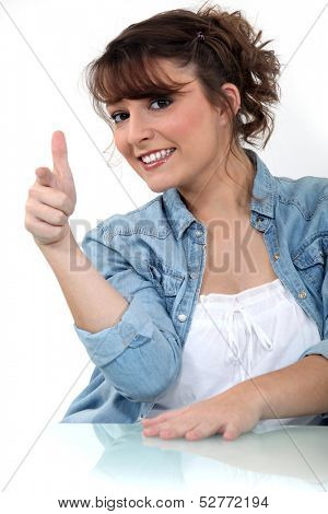 Woman giving a hand gesture