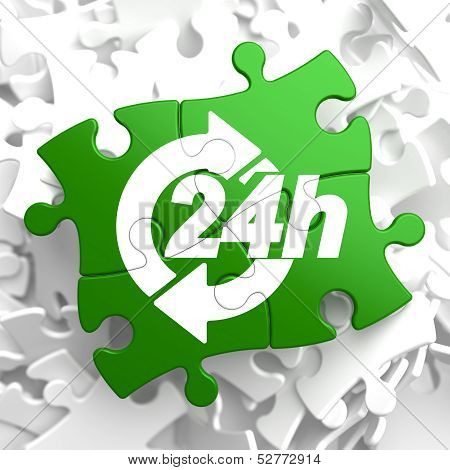 Service 24h Icon on Green Puzzle.