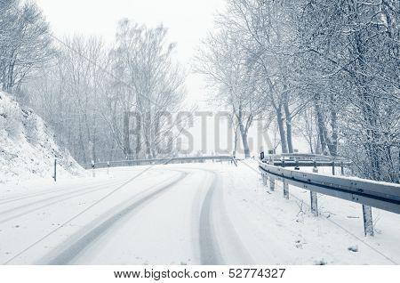 Snowy curvy road