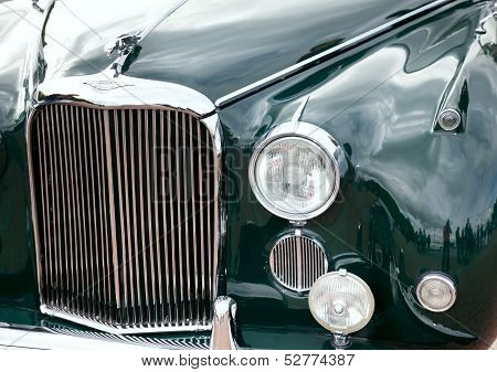 Classic Old Car Close-up Front View