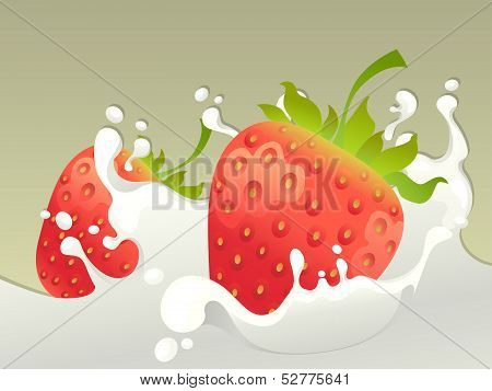 Milk splash with strawberry.