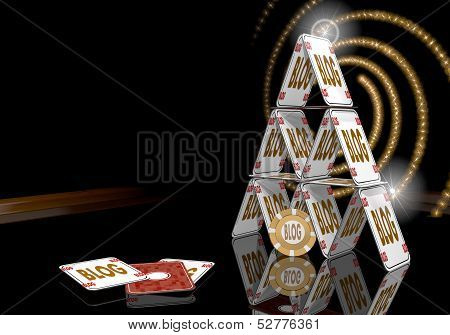 Illustration Of A Posh Blog Symbol  On The Casino Table