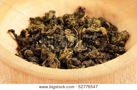 Dried Green Tea Leaves Close-up.