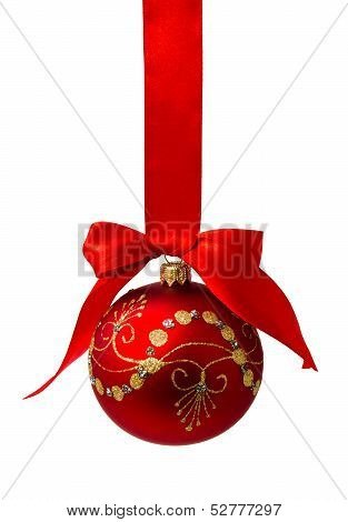 Red Christmas Ball With Ribbon Isolated On A White
