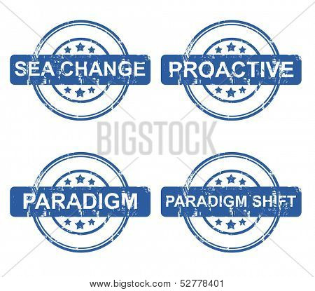 Set of business concept stamps with stars isolated on a white background.
