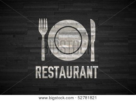 Restaurant Symbol  On Noble Stone Texture