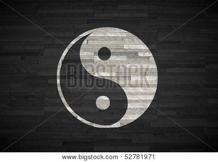 3D Render Of A Stylish Ying Yang Symbol  On Noble Stone Texture