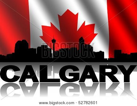 Calgary skyline and text reflected with rippled Canadian flag illustration