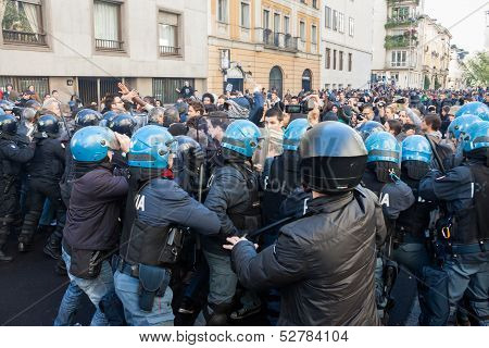 Secondary school students protest in Milan, Italy