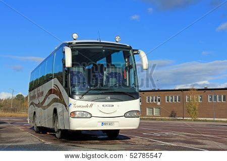 Scania Coach Bus On A Parking Lot In Paimio, Finland