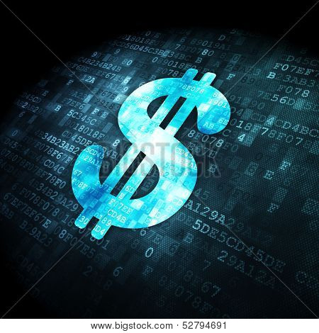 Currency concept: Dollar on digital background