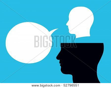 Male head above another with speech bubble vision