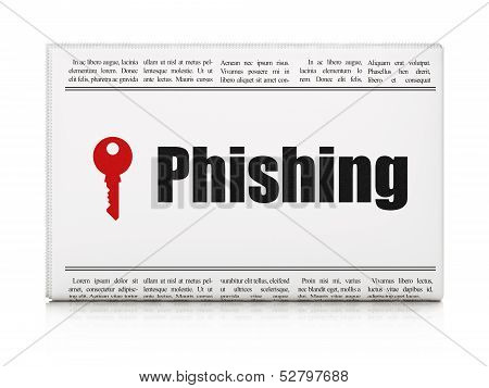 Safety news concept: newspaper with Phishing and Key