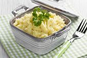 stock photo of ceramic bowl  - Mashed potato in ceramic bowl with fork for breakfast - JPG