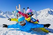 image of family ski vacation  - Skiing - JPG
