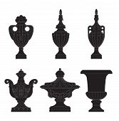 picture of planters  - set of classic urns planters in 6 variation - JPG