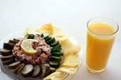 Tuna With Pickles , Chips & Orange Juice