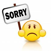 foto of apologize  - Sorry glossy emoticon isolated on white background - JPG