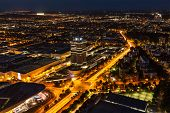 MUNICH, GERMANY - MAY 11: Aerial view of BMW Museum and Welt factory and Munich from Olympic Tower i