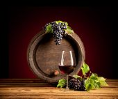 picture of keg  - Still life of wine with wooden keg - JPG
