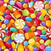 stock photo of lollipops  - Vector seamless background with various colorful candies - JPG