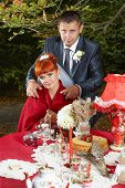 picture of unity candle  - Romance Beautiful Happy Bride and Groom on wedding day - JPG
