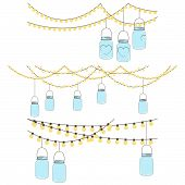 stock photo of masonic  - Vector Set of Hanging Glass Jar Lights and Bunting - JPG