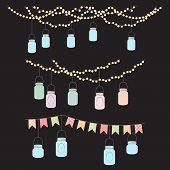 stock photo of banquet  - Vector Set of Hanging Glass Jar Lights and Bunting - JPG