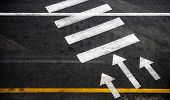 stock photo of pedestrian crossing  - Pedestrian crossing with road marking - JPG