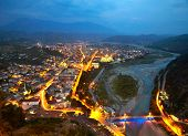 stock photo of albania  - Berat in Albania at nighttime - JPG