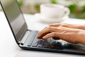 stock photo of french manicure  - Woman hands typing on laptop - JPG