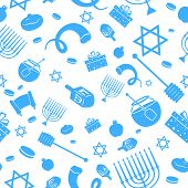 stock photo of sukkot  - illustration of Seamless Israeli Holiday Pattern - JPG