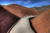 image of sedimentation  - Painted Hills Oregon colorful view red and brown - JPG