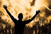 stock photo of antichrist  - many people are praising the holy lord - JPG