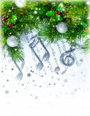 image of conifers  - Image of Christmas treble clef on notes pages - JPG