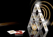 picture of posh  - Pastel gray lucky card 3d graphic with posh jackpot symbol on the casino table - JPG
