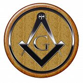 foto of freemason  - Freemason metallic symbol on round wooden plaque - JPG