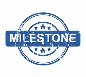Business milestone stamp with stars isolated on a white background.