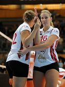 KAPOSVAR, HUNGARY - SEPTEMBER 20: Rebeka Rak (white 16) in action at the Hungarian I. League volleyb